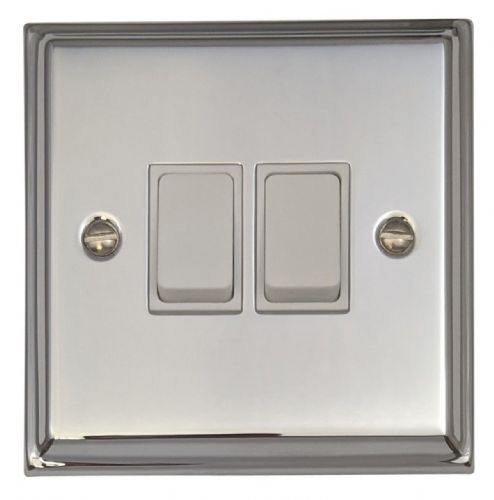 G&H DC2W Deco Plate Polished Chrome 2 Gang 1 or 2 Way Rocker Light Switch